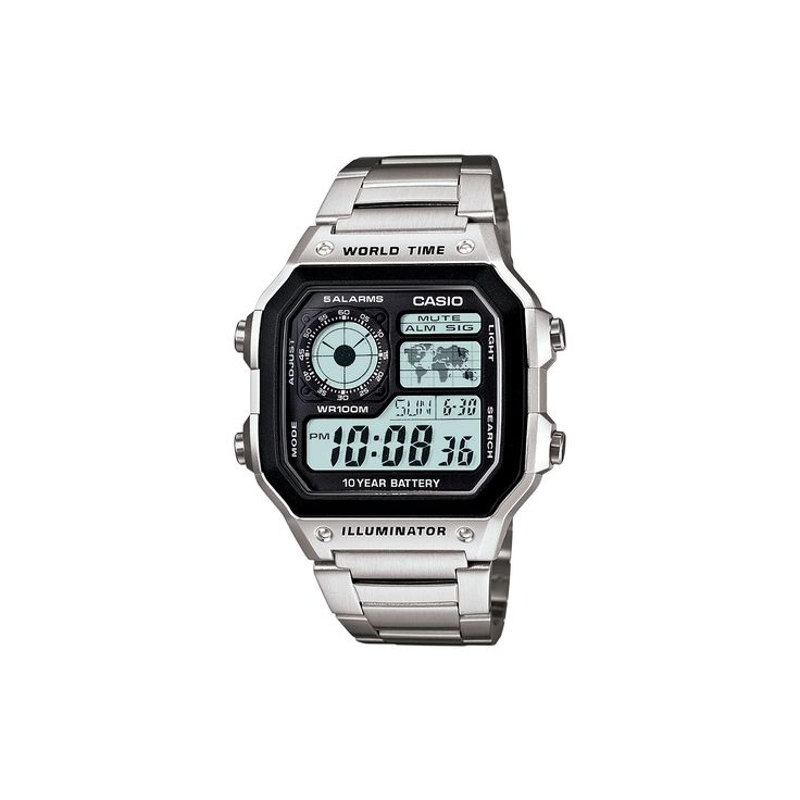 Casio World Time Stainless Steel Digital Chronograph Watch - AE1200WHD-1A - Men, Men's, Grey